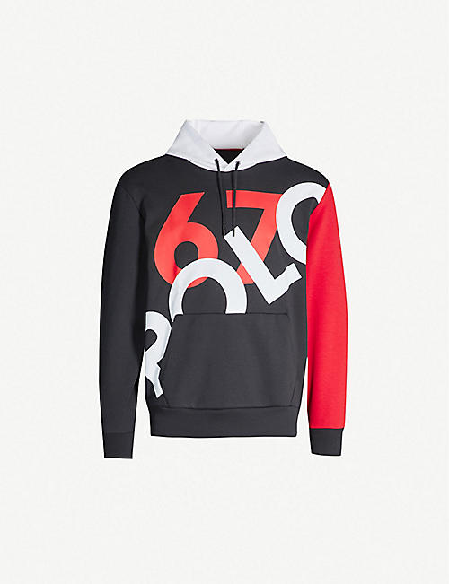 b3af4fa4c POLO RALPH LAUREN Graphic contrast-panel stretch-jersey hoody