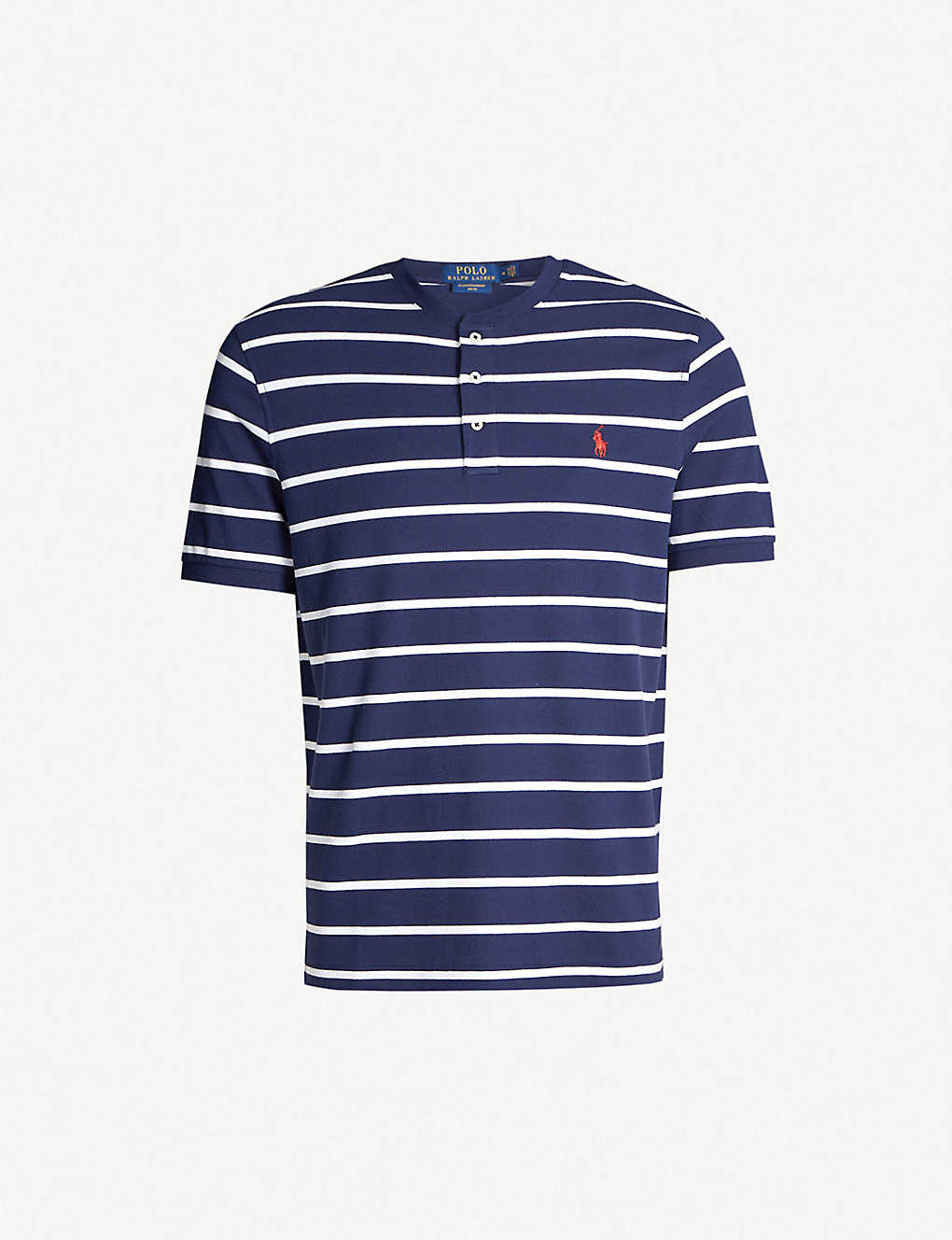 7464e480 Logo-embroidered striped cotton Henley shirt - Newport navywhite ...