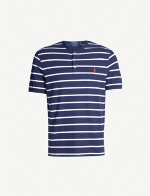 POLO RALPH LAUREN Logo-embroidered striped cotton Henley shirt