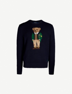 POLO RALPH LAUREN Bear-embroidered cotton-and-linen blend jumper