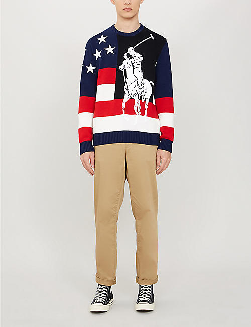 POLO RALPH LAUREN Graphic-intarsia cotton-knit jumper