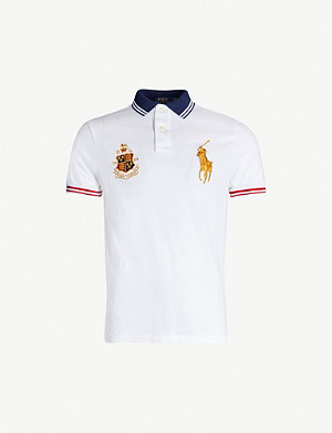 POLO RALPH LAUREN Contrast-trim logo-embroidered cotton polo shirt