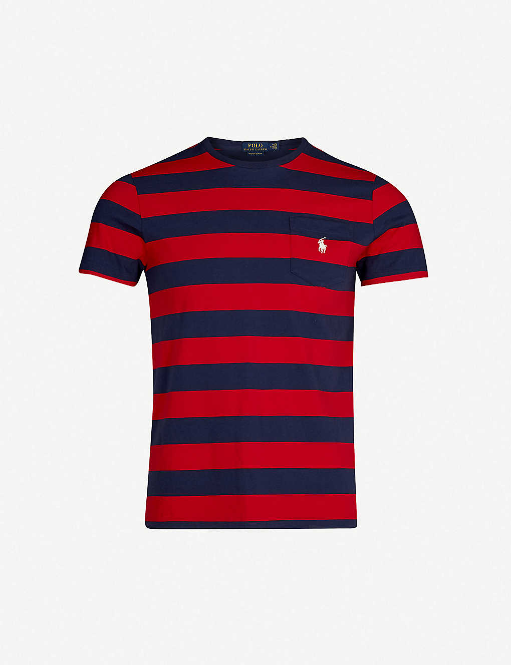 a28dba6e Striped logo-embroidered cotton-jersey T-shirt - Cruise rednewport navy ...