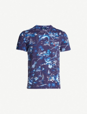 POLO RALPH LAUREN Scenic-print slim-fit cotton T-shirt