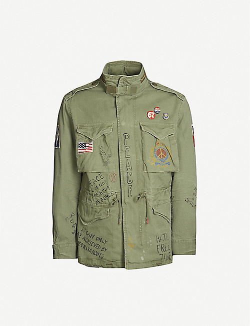 6f5b4d99cb14 POLO RALPH LAUREN High-neck embroidered printed cotton military jacket