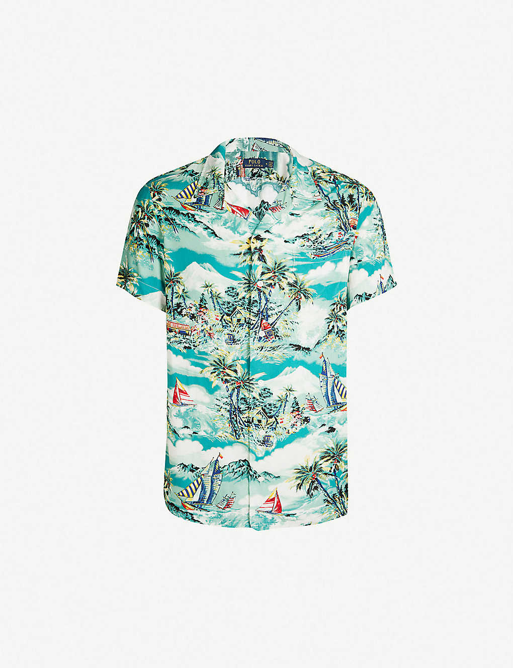 11539472 Palm floral print relaxed-fit cotton shirt - 3288 stormy tropical ...