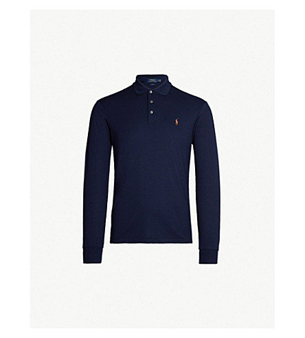 05f1132b738 POLO RALPH LAUREN Logo-embroidered long-sleeved cotton-jersey polo shirt