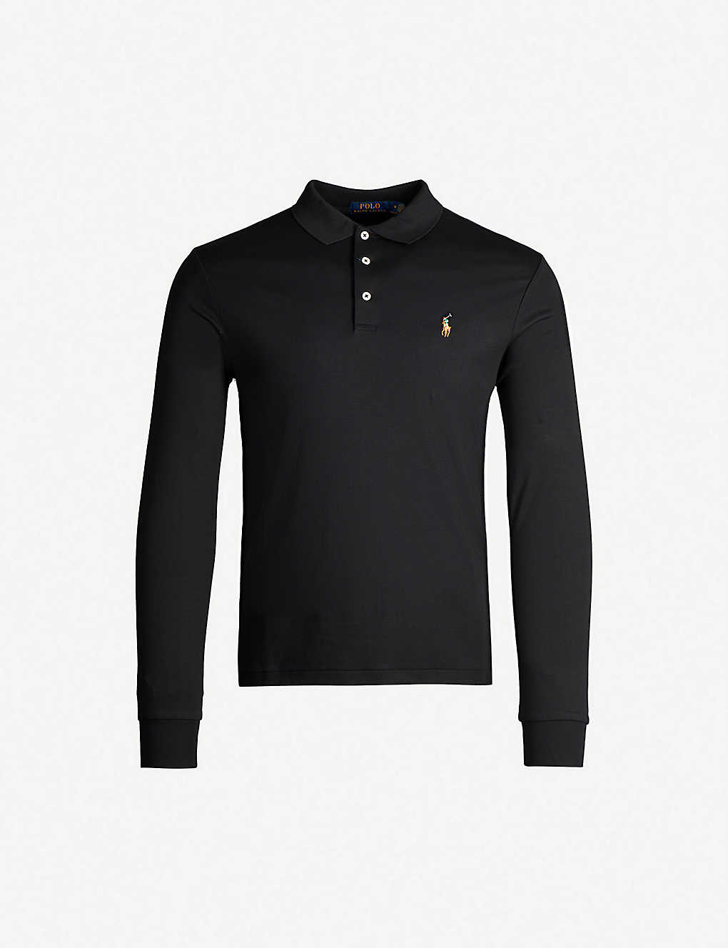 POLO RALPH LAUREN: Logo-embroidered long-sleeved cotton-jersey polo shirt