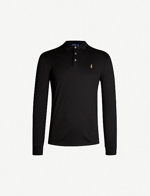 6506f929e311 POLO RALPH LAUREN Logo-embroidered long-sleeved cotton-jersey polo shirt
