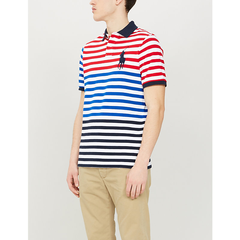a601e70d POLO RALPH LAUREN | Colour Block Stripe Cotton-Piqué Polo Shirt | Goxip