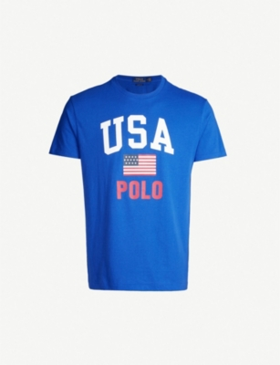 POLO RALPH LAUREN USA-print cotton-jersey T-shirt