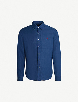 POLO RALPH LAUREN Logo-embroidered slim-fit linen shirt