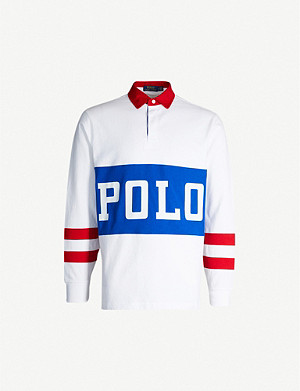 POLO RALPH LAUREN Contrast-panel cotton-jersey polo shirt