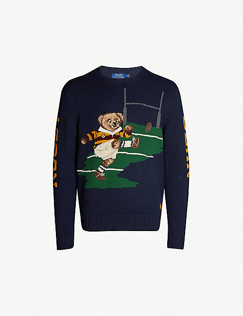 afd9c79a POLO RALPH LAUREN Rugby bear cotton and linen-blend knit jumper