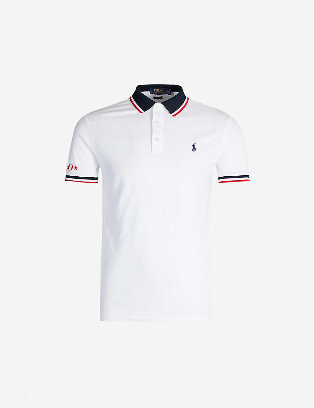f0600d339 POLO RALPH LAUREN - Slim-fit contrast stripe trim cotton polo shirt ...