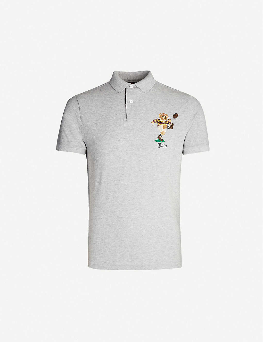 fadaa91c Bear-embroidered slim-fit cotton-piqué polo shirt - Andover heather ...