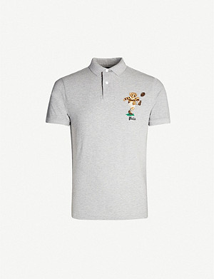 POLO RALPH LAUREN Bear-embroidered slim-fit cotton-piqué polo shirt