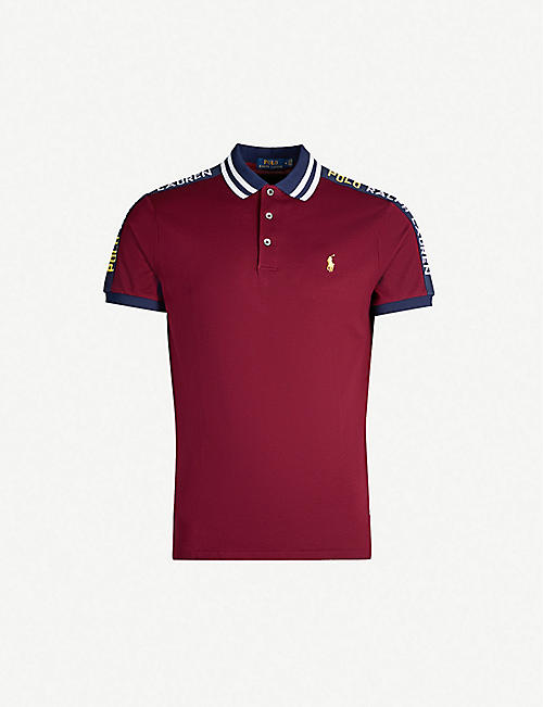 ef61cfeb POLO RALPH LAUREN Branded-sleeve custom slim-fit stretch-cotton polo shirt