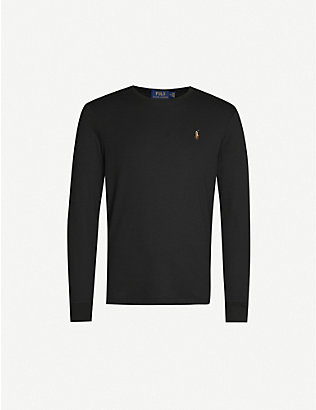 POLO RALPH LAUREN: Logo-embroidered cotton-jersey top