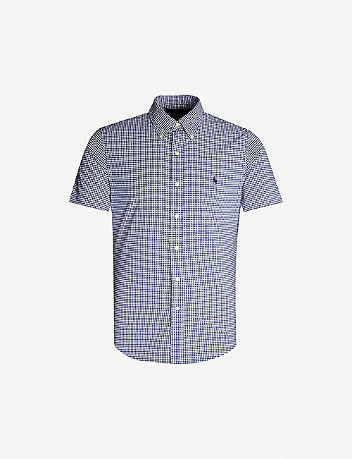 bbbecf79 POLO RALPH LAUREN Gingham slim-fit stretch-poplin shirt