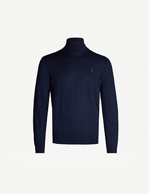 POLO RALPH LAUREN Logo-embroidered wool turtleneck jumper
