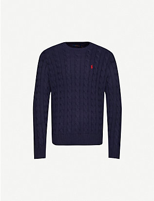 POLO RALPH LAUREN: Logo-embroidered cable-knit cotton jumper