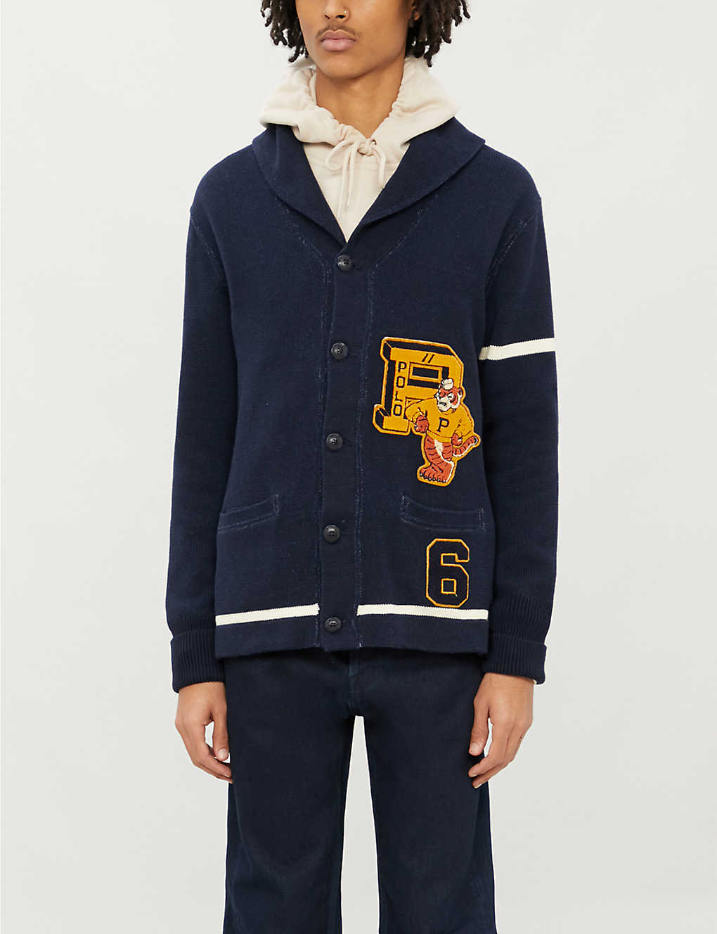 POLO RALPH LAUREN: Embroidered-appliqué shawl-collar cotton-knit cardigan