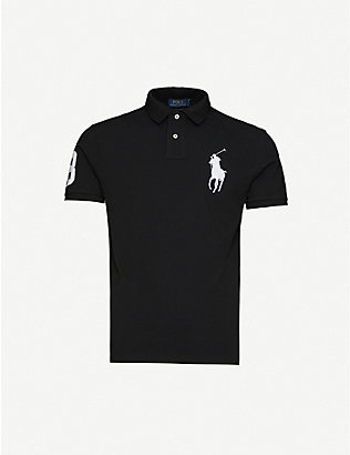 POLO RALPH LAUREN: Logo-embroidered cotton-pique polo shirt