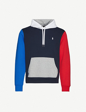 POLO RALPH LAUREN Logo-embroidered striped stretch-jersey hoody