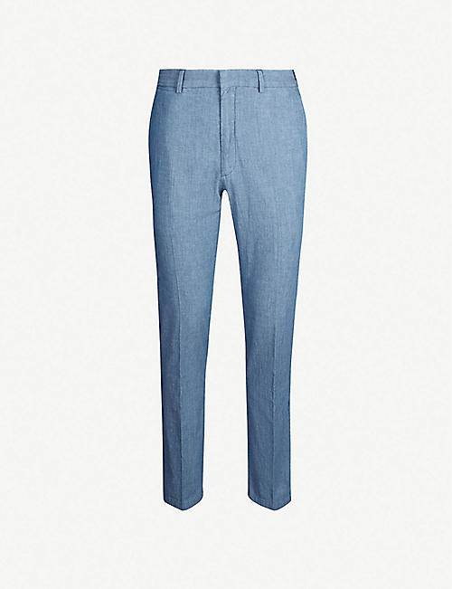 POLO RALPH LAUREN Regular-fit tapered mid-rise cotton trousers
