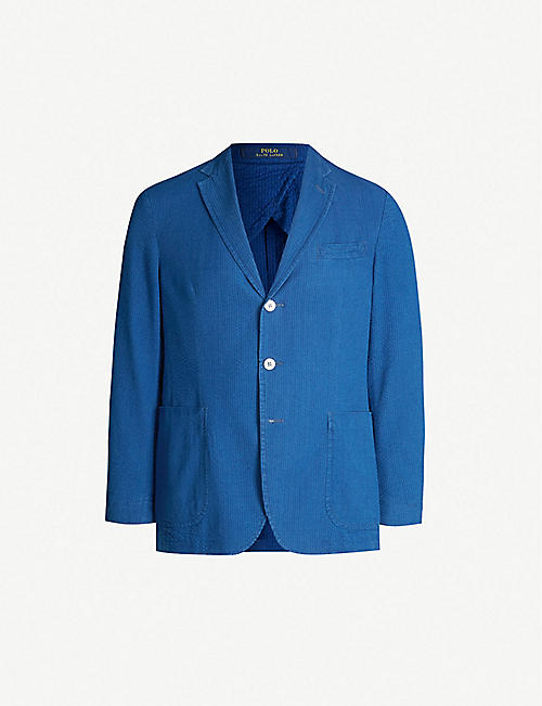 POLO RALPH LAUREN Single-breasted Morgan-fit cotton-seersucker blazer