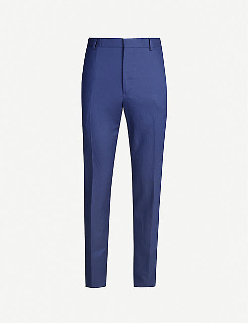 POLO RALPH LAUREN Regular-fit tapered mid-rise tencel and linen-blend trousers