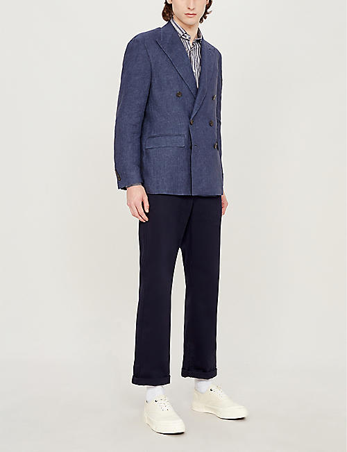 POLO RALPH LAUREN Double-breasted morgan-fit linen blazer