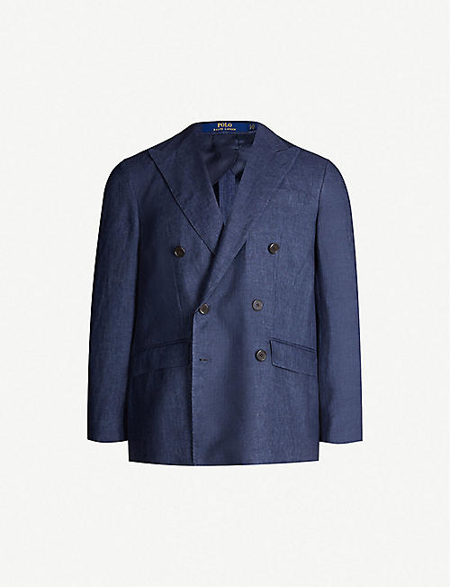 bca8bb8063baee POLO RALPH LAUREN Double-breasted morgan-fit linen blazer