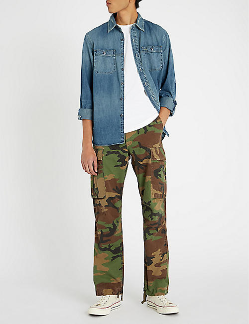 RRL Camouflage-print regular-fit straight cotton trousers