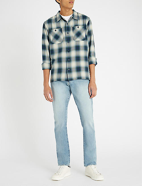 RRL Montery checked cotton-blend shirt