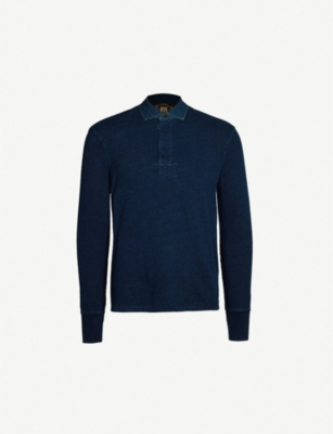 RRL Half-button cotton rugby top