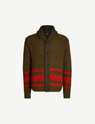RRL Striped cotton and wool-blend cardigan