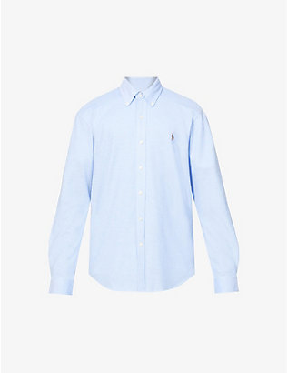 POLO RALPH LAUREN: Logo-embroidered slim-fit cotton-pique Oxford shirt