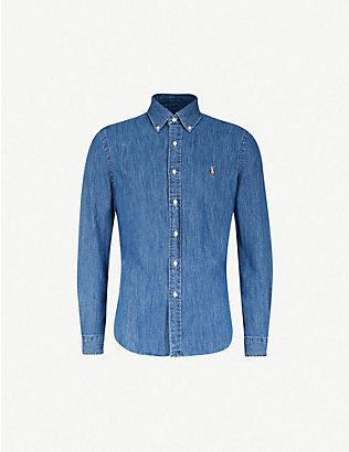 POLO RALPH LAUREN: Slim-fit denim sport shirt