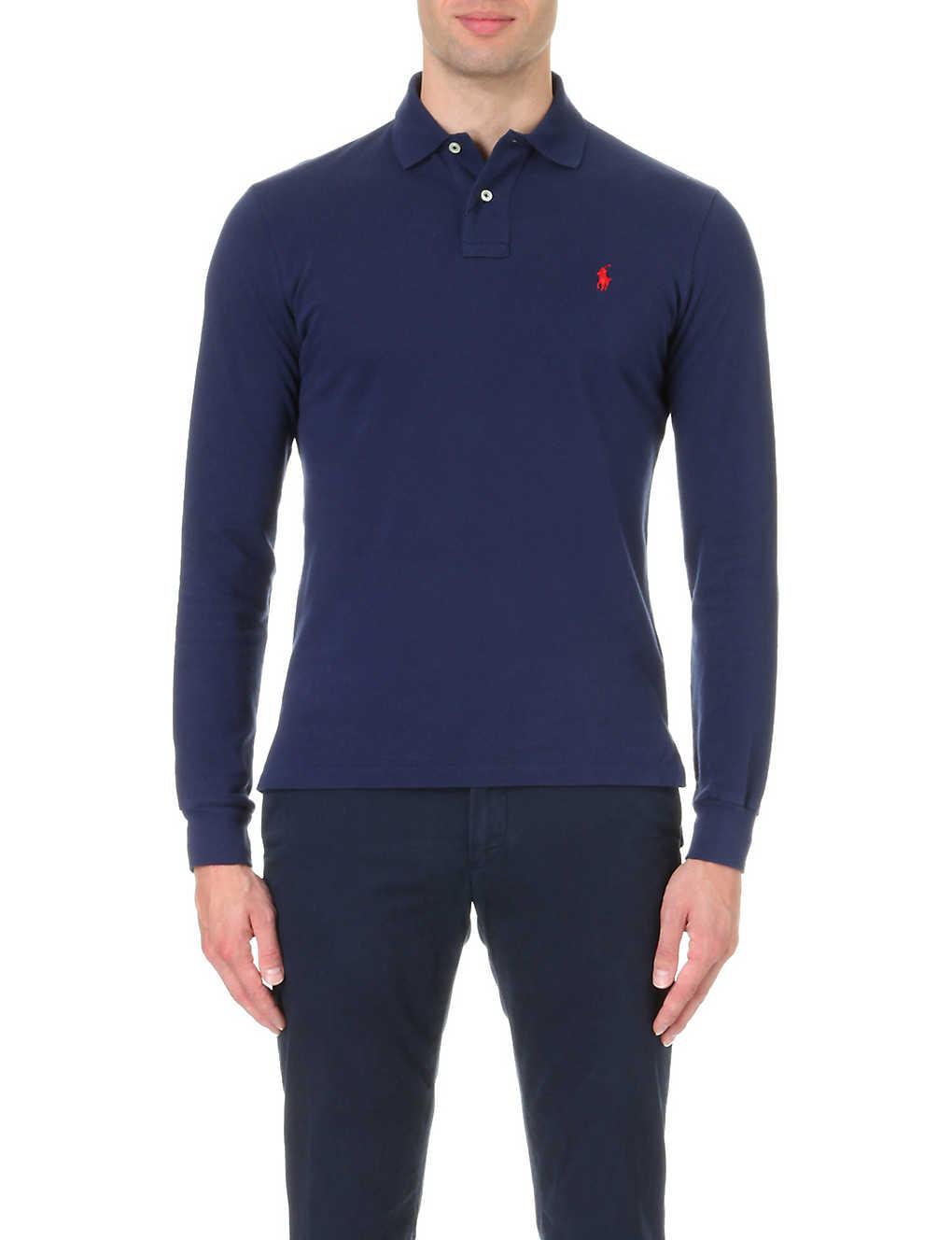 bc45ef08 POLO RALPH LAUREN - Custom-fit long-sleeved cotton-mesh polo shirt ...