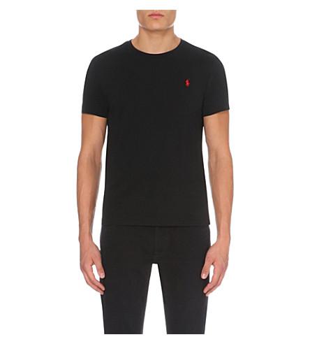 fe1113b95aa POLO RALPH LAUREN Logo-embroidered cotton-jersey t-shirt (Black