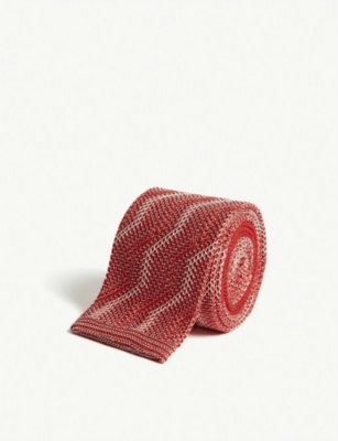RICHARD JAMES Squared-off zigzag knitted silk tie