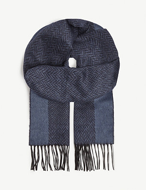 RICHARD JAMES Herringbone silk and cashmere scarf