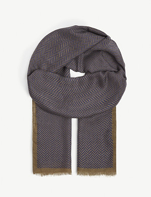 RICHARD JAMES Herringbone cashmere and wool scarf