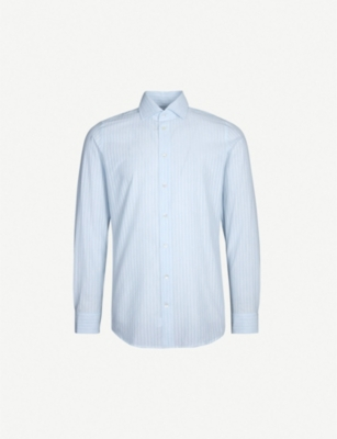 RICHARD JAMES Pinstriped contemporary-fit cotton shirt