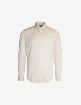 RICHARD JAMES Geometric-jacquard contemporary-fit cotton shirt