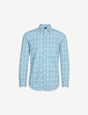 RICHARD JAMES Contemporary-fit swirl-print cotton shirt