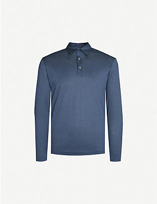 RICHARD JAMES: Fitted wool and cotton-blend polo shirt