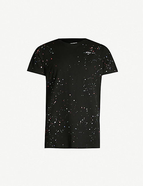 d752d133aace OFF-WHITE C O VIRGIL ABLOH Paint-splattered cotton-jersey T-